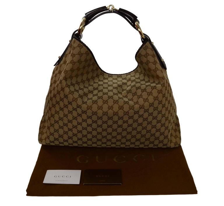 61a92a3405ef Gucci Tan Monogram Adipose Horsebit Hobo Bag at 1stdibs