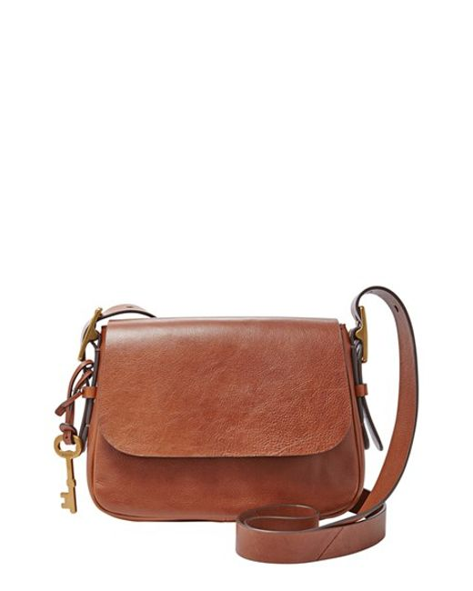 83e76430783f Fossil Harper Measly Leather Cross-Body Bag in Brown