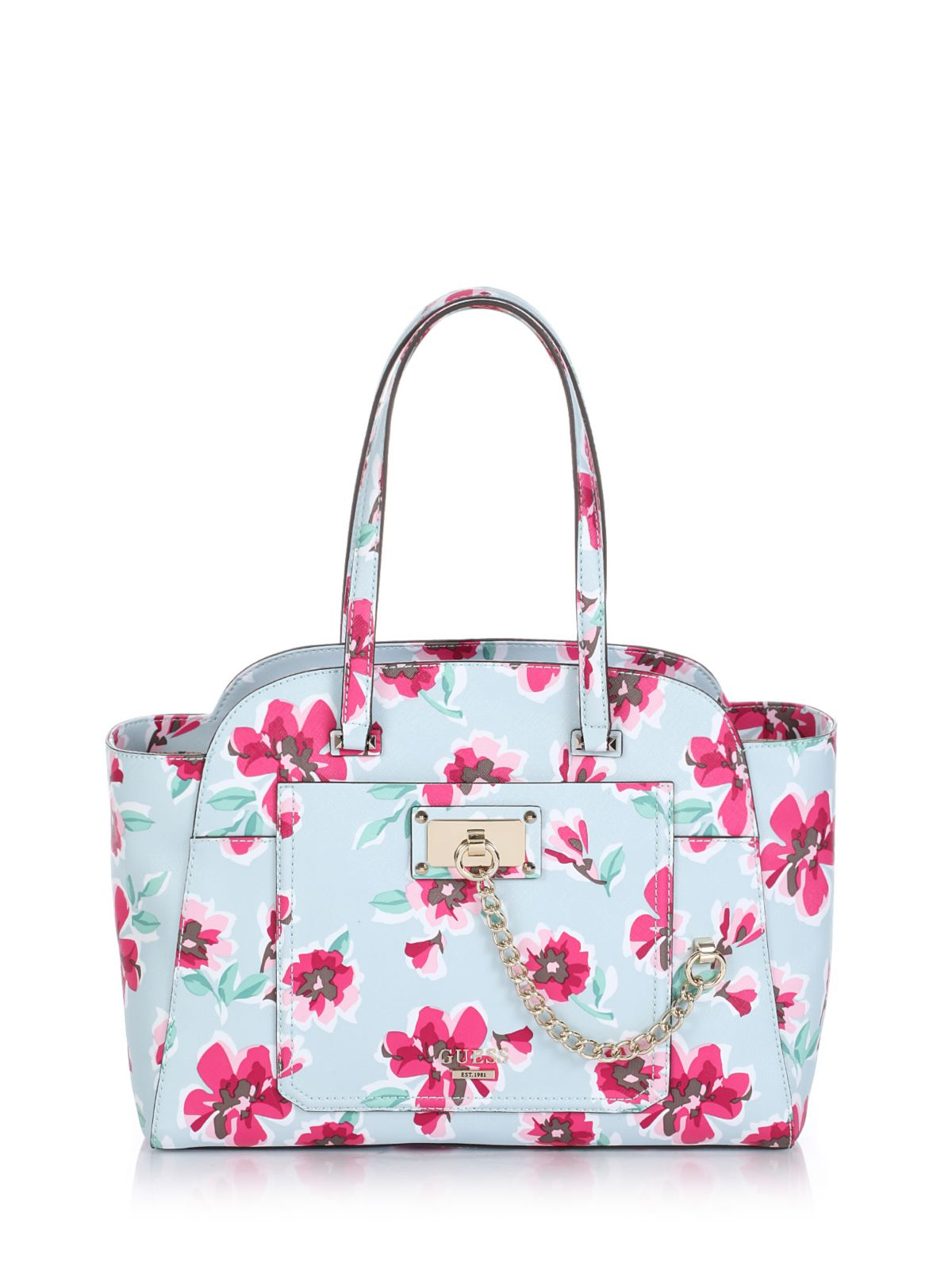 c925e3f576c9 Guess Draw a blank Me Not Privy Tote Floral Bag in Blue